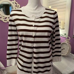 Talbots cardigan size medium brown & white